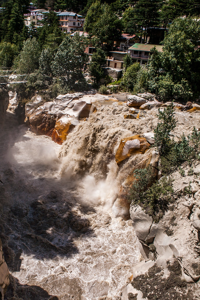 Water of river Bhagirathi gushing down at Suryakund at Gangotri, Uttarakhand