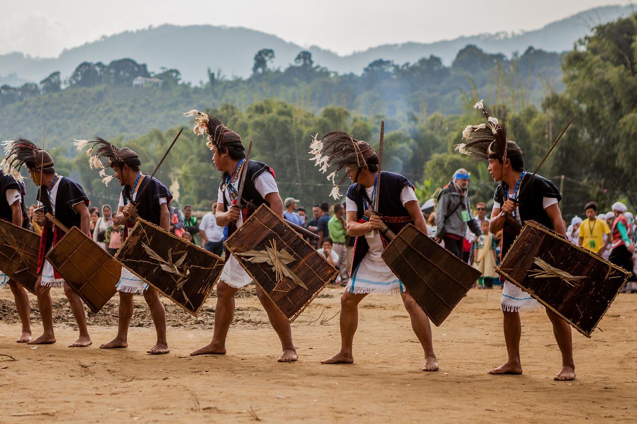Galo Warrior dancers at BasCon, Basar, Arunachal Pradesh, India