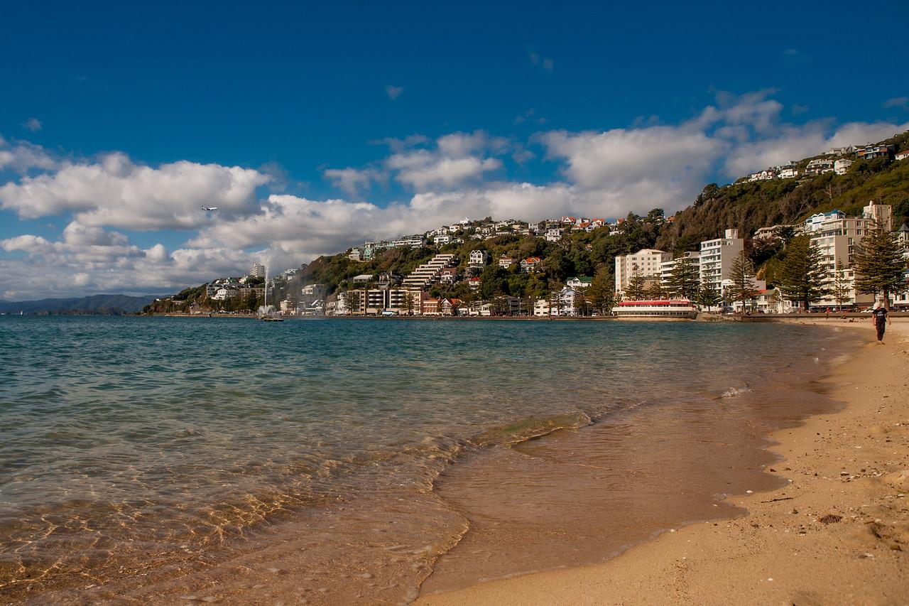 A beach at Oriental Bay, Wellington, New Zealand