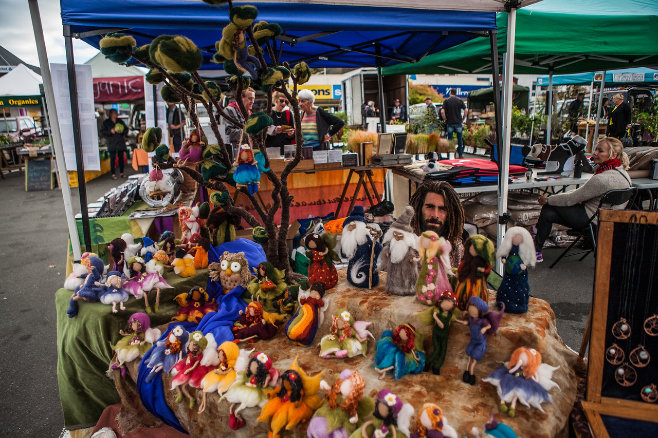 A stall of woolen dolls at the Nelson Saturday market, New Zealand