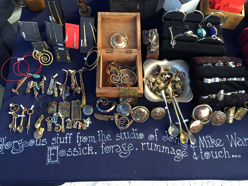 The stall of the famous artist at the Nelson Saturday market, New Zealand