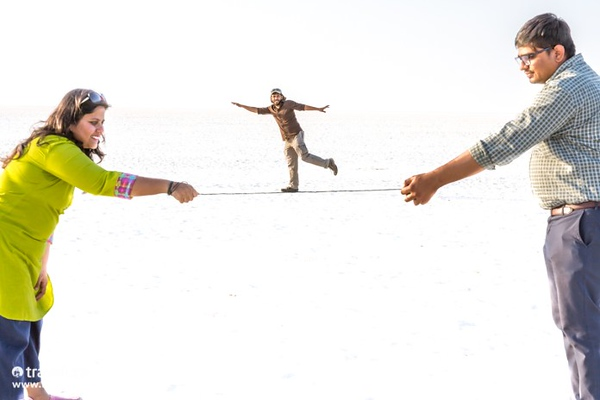 Forced perspective images at the White Rann of Kutch, Gujarat, India