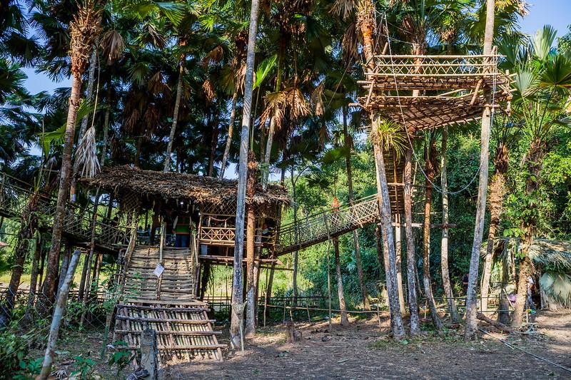Tree house made of bamboo at the venue of the Basar Confluence, BasCon, Basar, Arunachal Pradesh, India