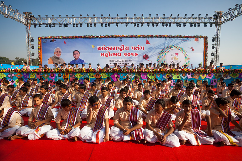 Young boys from the Bhagwat school all set for their performance at the International Kite Festival 2019, Ahmedabad, India