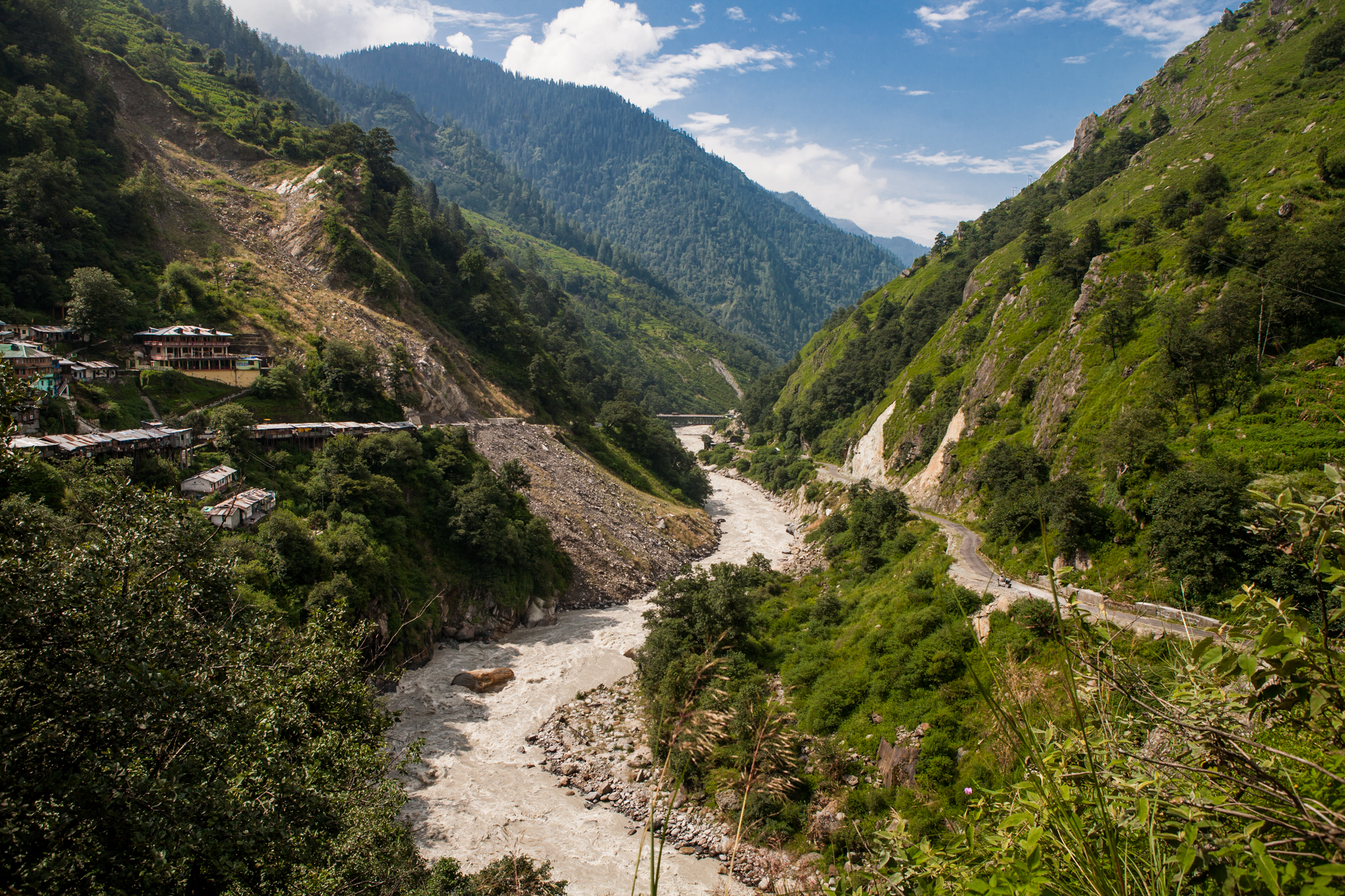 The roads in the Himalayan mountains in Uttarakhand, India