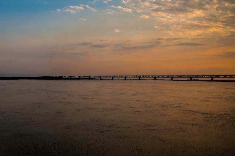 Bogibeel Bridge on Bramhaputra river, Assam, India