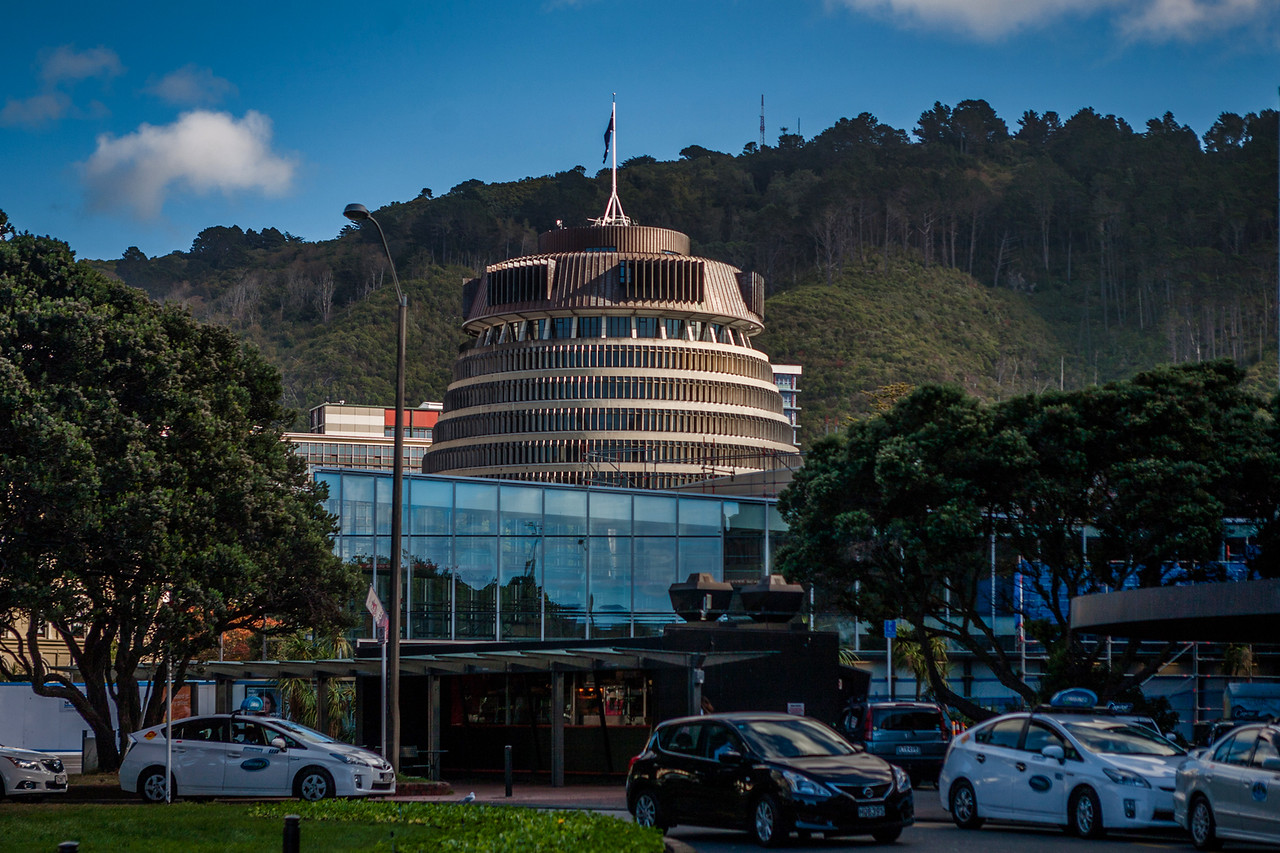 """The """"bee-hive"""" Parliament building, Wellington, New Zealand"""