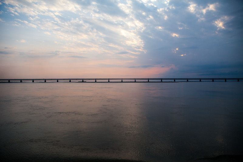 Bogibeel Bridge on Bramhaputra river, Assam, India