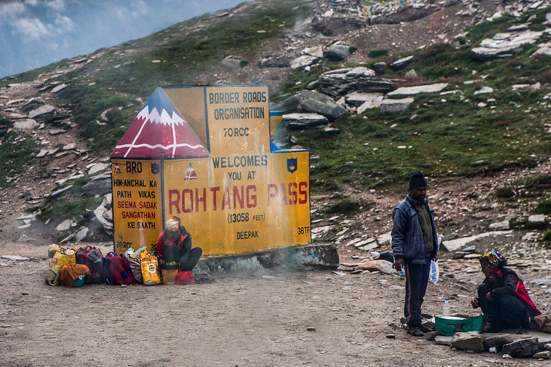 On top of the Rohtang Pass on the way from Manali to Kaza in the Spiti valley