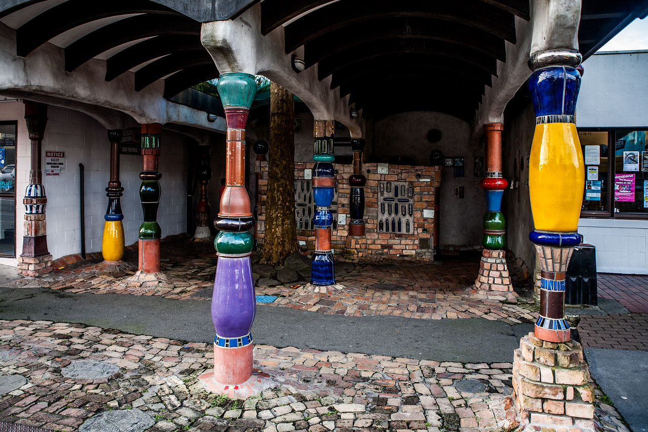 The toilet, designed by Hundertwasser at KawaKawa, New Zealand