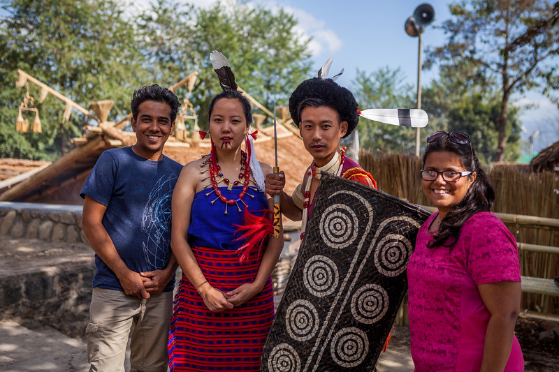 Posing with the youngsters of the Rengma tribe at the Hornbill festival in Nagaland, India