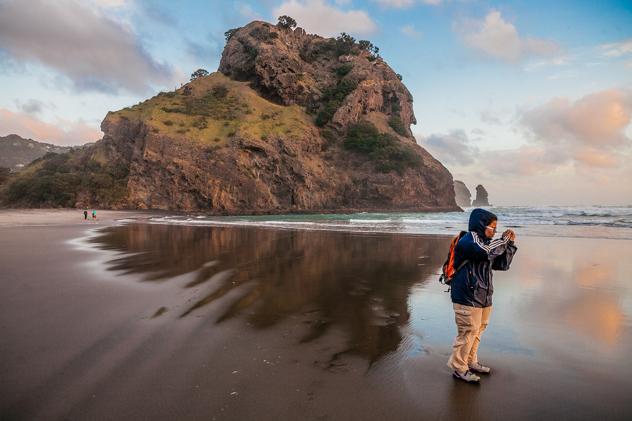 Sandeepa on Piha beach, Auckland, New Zealand