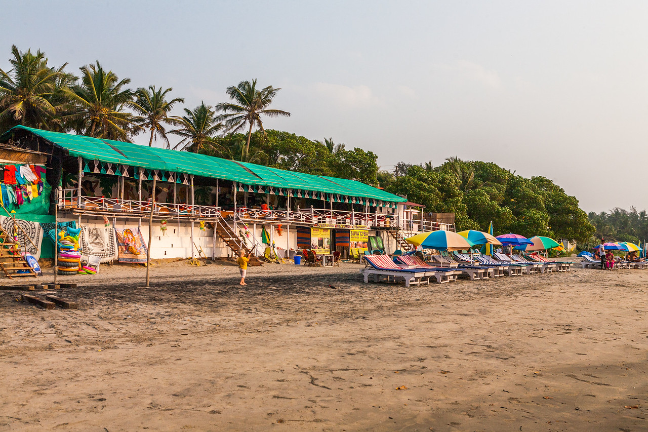 Shacks at the Ashvem beach in Goa