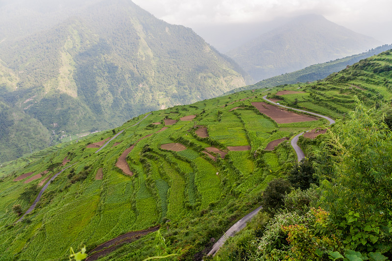 Terraced farms and the winding roads that lead up to the village Raithal