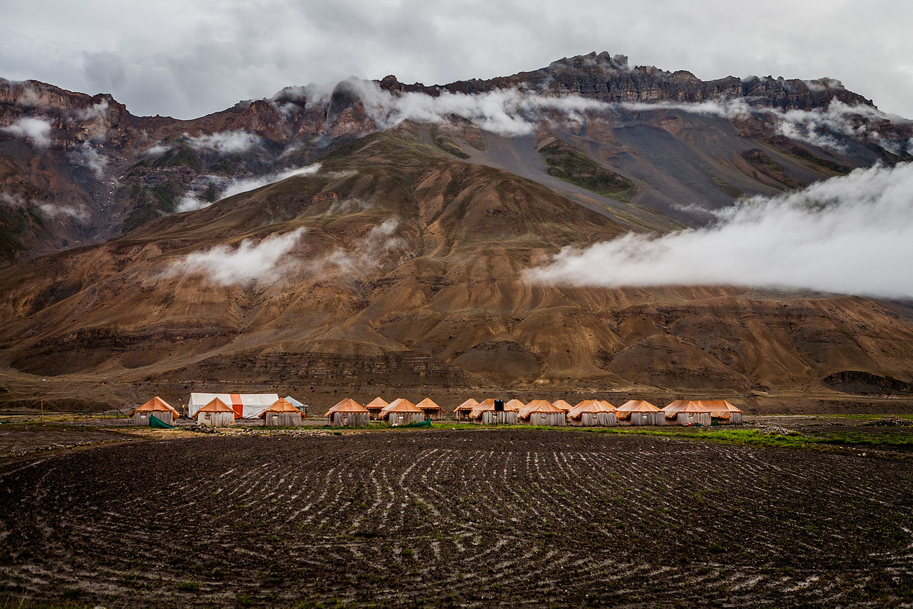 Kaza in Spiti valley after a heavy rainfall.