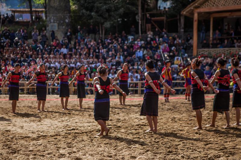 The Sangtam tribe performing at the Hornbill Festival, Nagaland, India