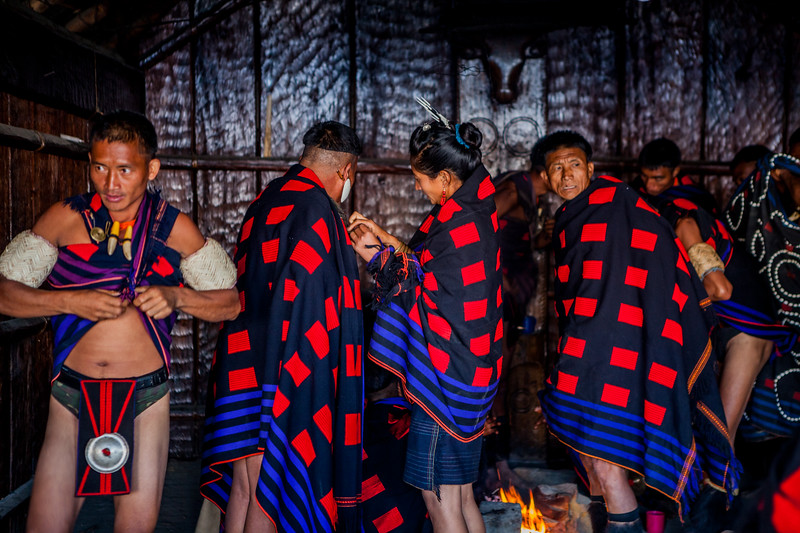 The Chang tribe in their morung at the Hornbill Festival, Nagaland, India