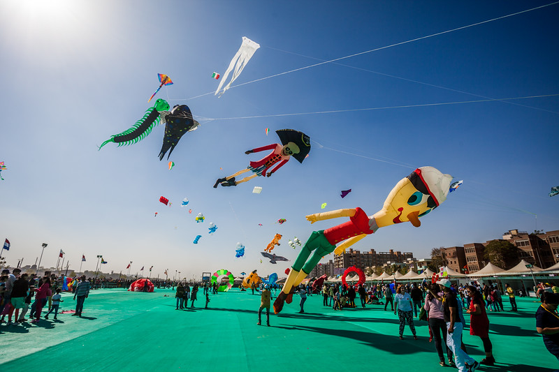 Some awesome kites flying up at the International Kite Festival 2019, Ahmedabad, India