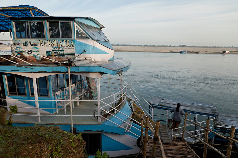 The Nakshatra houseboat at the Guijan ghat to the  Dibru Saikhowa Wildlife Sanctuary in Assam, India