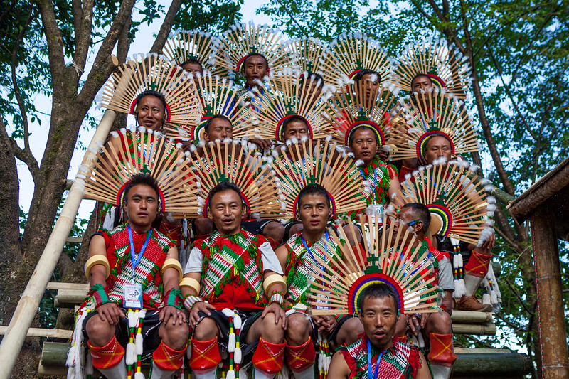 The Chakesang tribe relaxes after their performance at the Hornbill festival in Nagaland, India