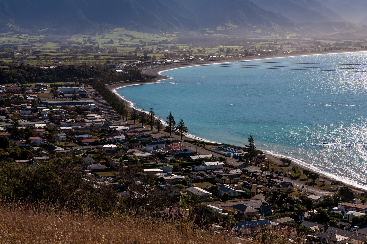 The Kaikoura coast seen from atop the peninsula