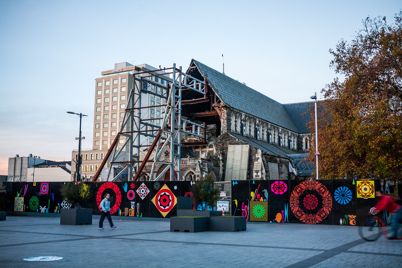 Art surrounding the dilapidated cathedral of Christchurch, NZ