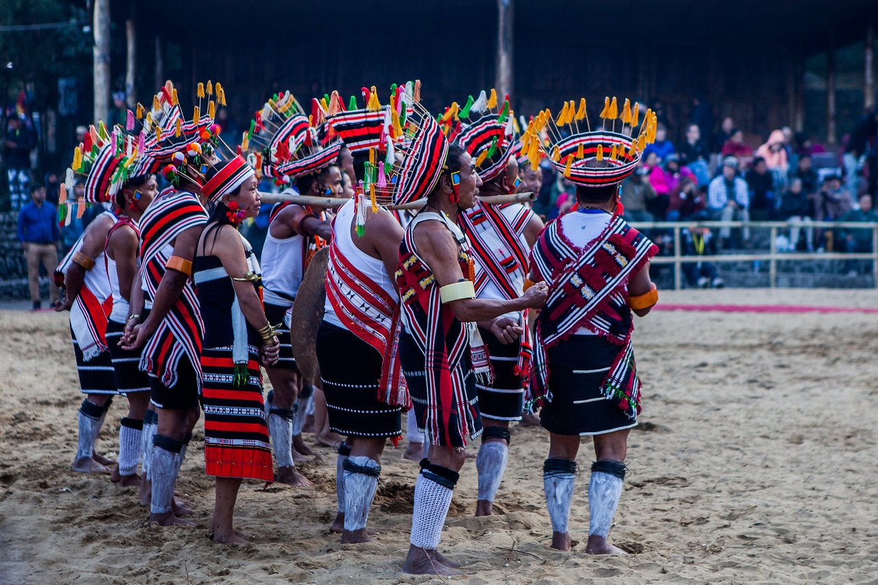 The Zeliang tribe performing at the Hornbill Festival, Nagaland, India