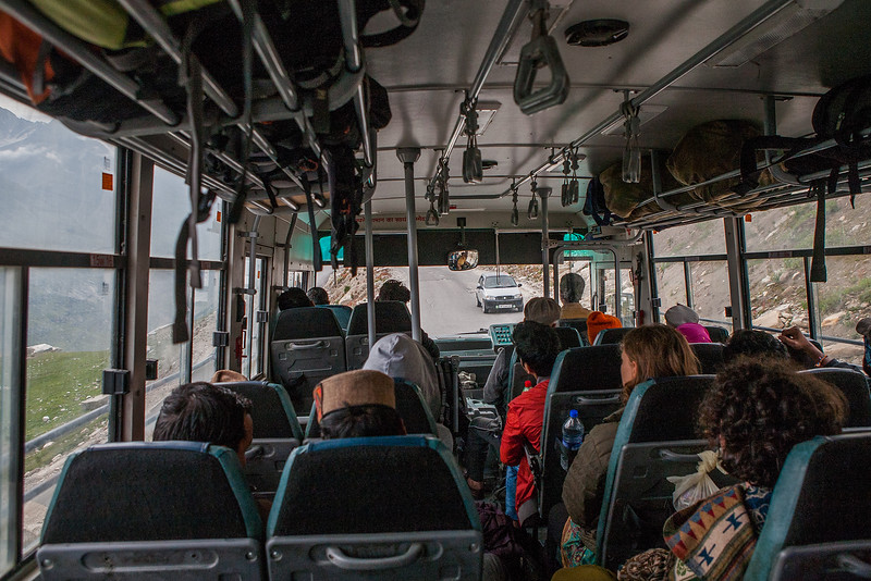HRTC bus from Manali to Kaza in the Spiti valley
