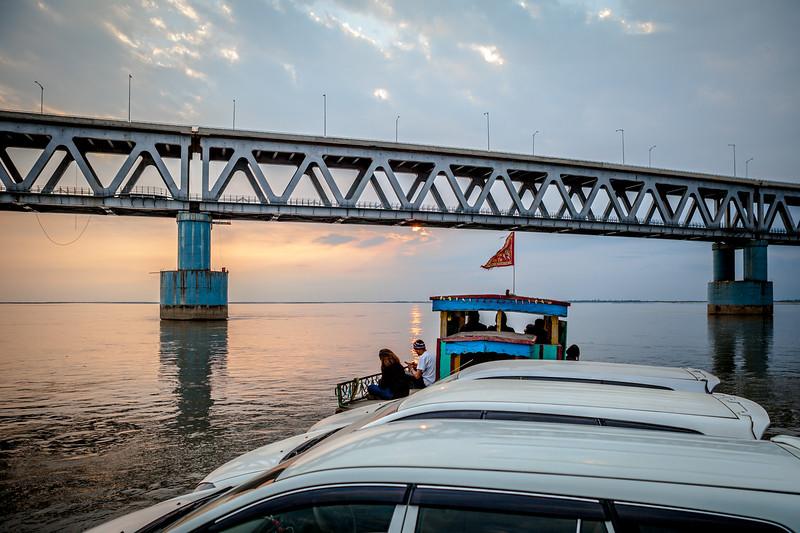 Bogibeel ferry on Bramhaputra river, Assam, India