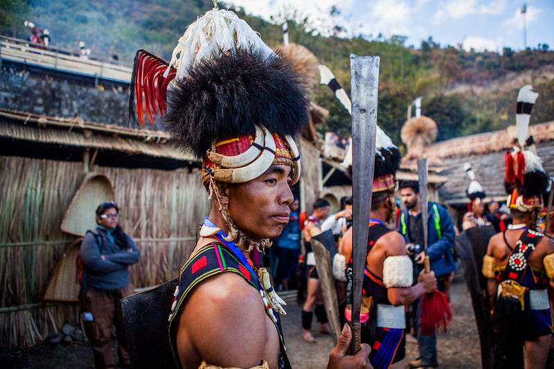 A performer of the Yimchungri tribe is all set to start practice of his tribe's performance at the Hornbill festival in Nagaland, India