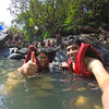Sandeepa and Chetan swimming in the waters of the Dudhsagar waterfalls, Goa