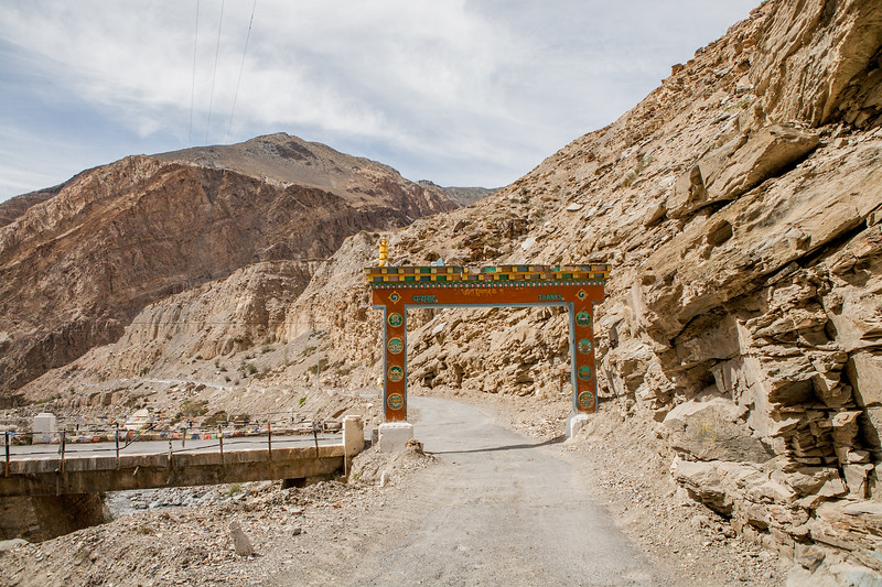 Entrance arch on the road to Gue Monastery, Spiti Valley, India