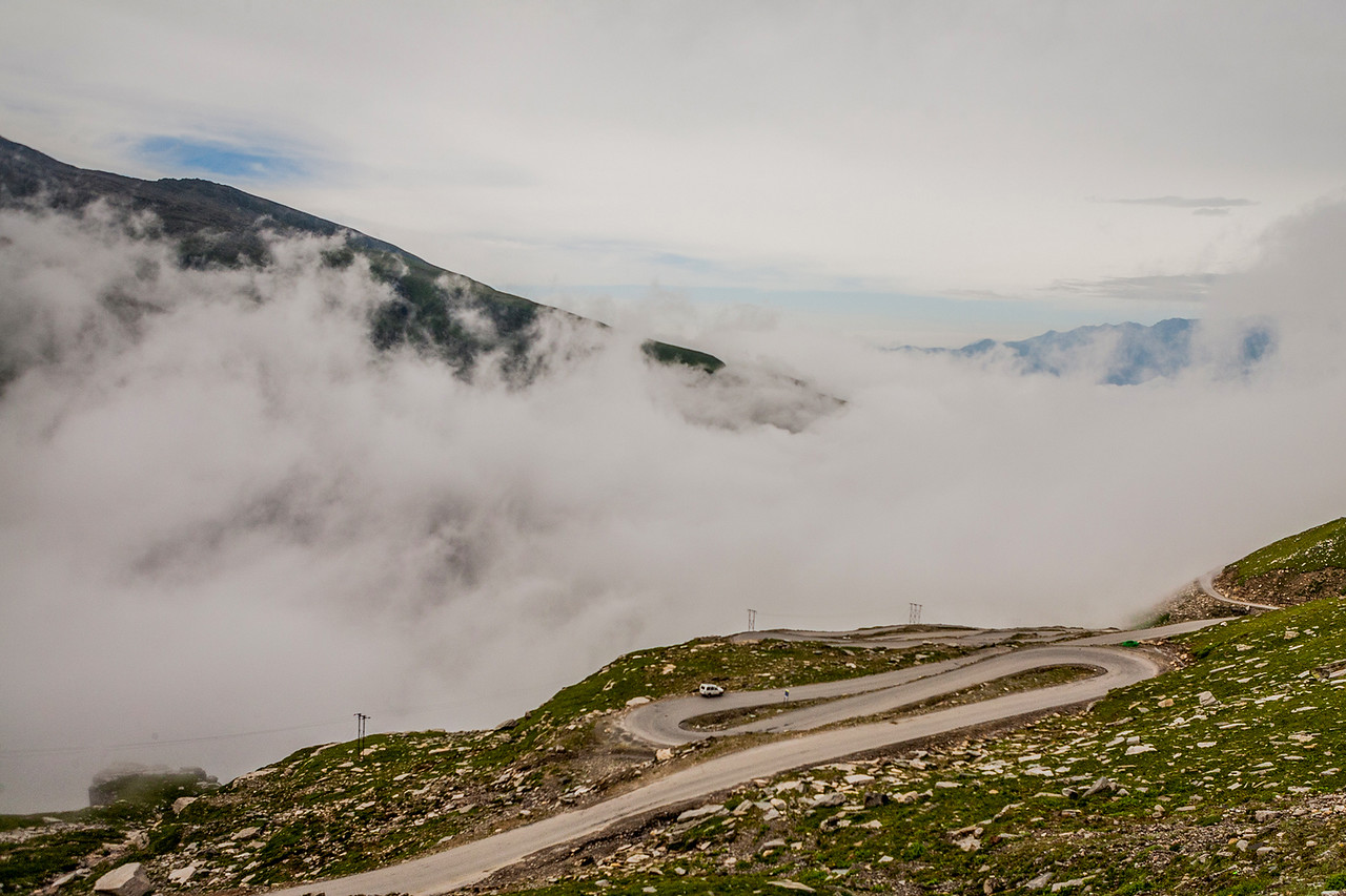 Fog covered Rohtang Pass after an early morning start on the Manali Kaza route to Spiti valley