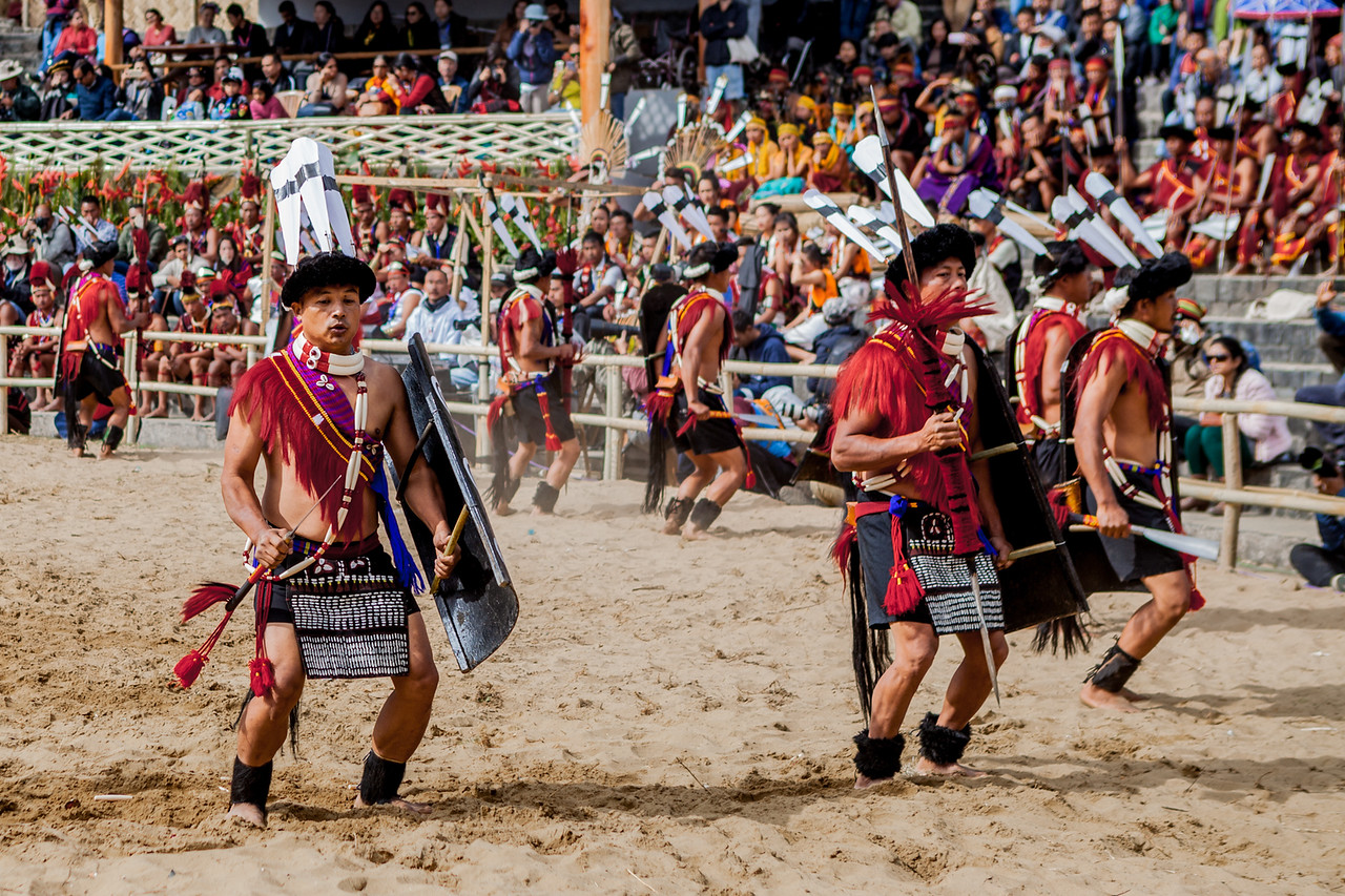 Cultural performance of the Ao tribe at the Hornbill Festival, Nagaland, India