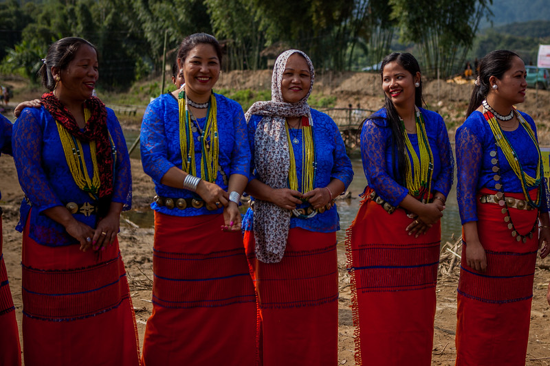 Galo women all set to perform the Galo Ponu at teh Basar Confluence, BasCon, Basar, Arunachal Pradesh, India