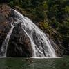The lower tier of the Dudhsagar waterfall in Bhagwan Mahaveer Wildlife Sanctuary, Goa