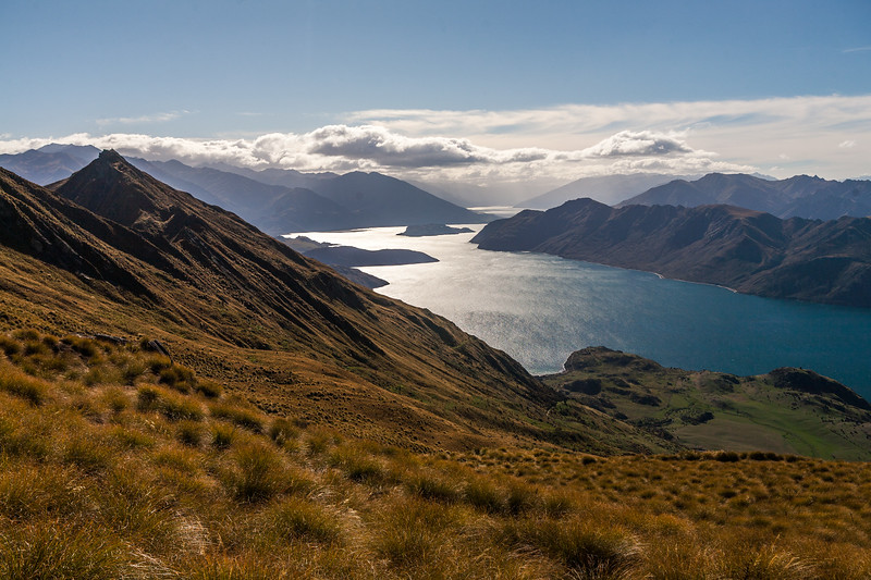 Views from the climb up to Mt Roy: Glendhu Bay, lake Wanaka, New Zealand