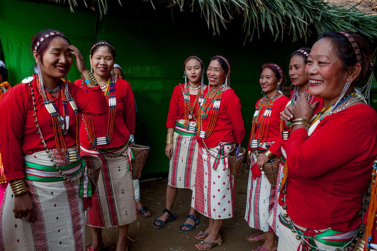 Galo women at backstage at BasCon, Basar, Arunachal Pradesh, India