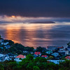 View of the harbour covered in clouds at sunrise, Wellington, New Zealand