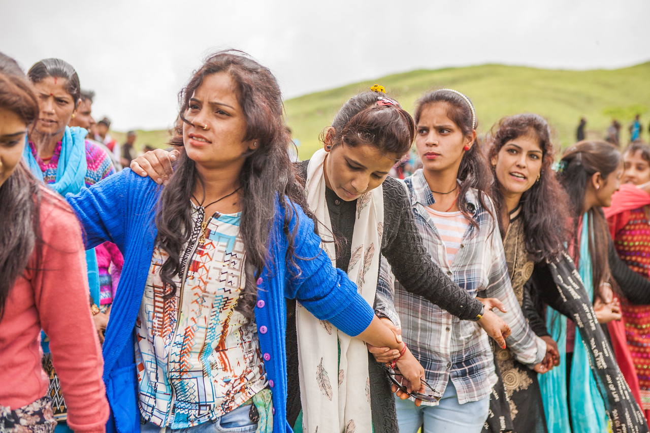 Young girls dancing the traditional dance of Garhwal during the butter festival at Dayara Bugyal