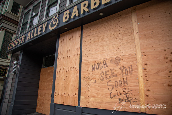 "Scribbled on the wall, ""Be Strong because things will get better. It may be Stormy now, but it never Rains Forever."" Cooper Alley Salon & Barber Lane Team writes, ""Much Love See You Soon"""