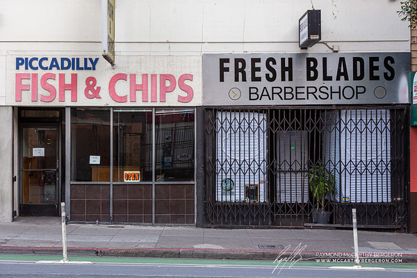 Piccadilly Fish & Chips remains open while the Fresh Blades barbershop is closed.
