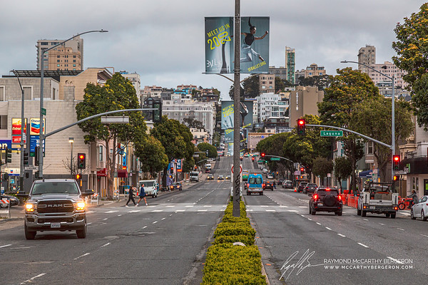 Evening traffic is very lite vs a few weeks prior facing east on Lombard Street.
