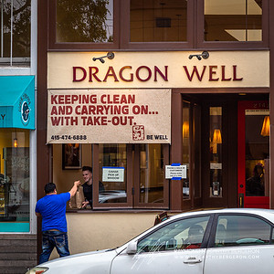 "Dragon Well is one of many that setup a make-shift pickup window for guests to grab and go.  Also emphasizing their approach as ""Keeping CLean and Carrying On... With Take-out. Be Well"""