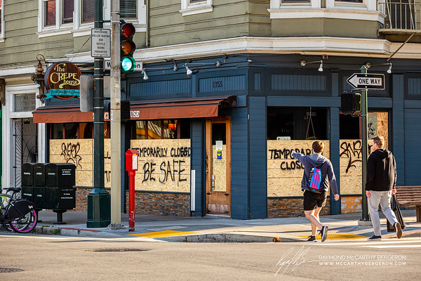 The Crepe House boards up their business temporarily and wishes people to be safe.