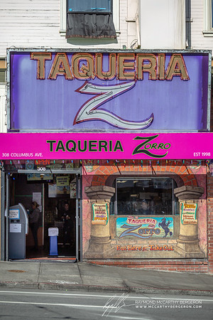 Taqueria Zorro remains open while employees scrub down areas of the store frong using spray and gloves.