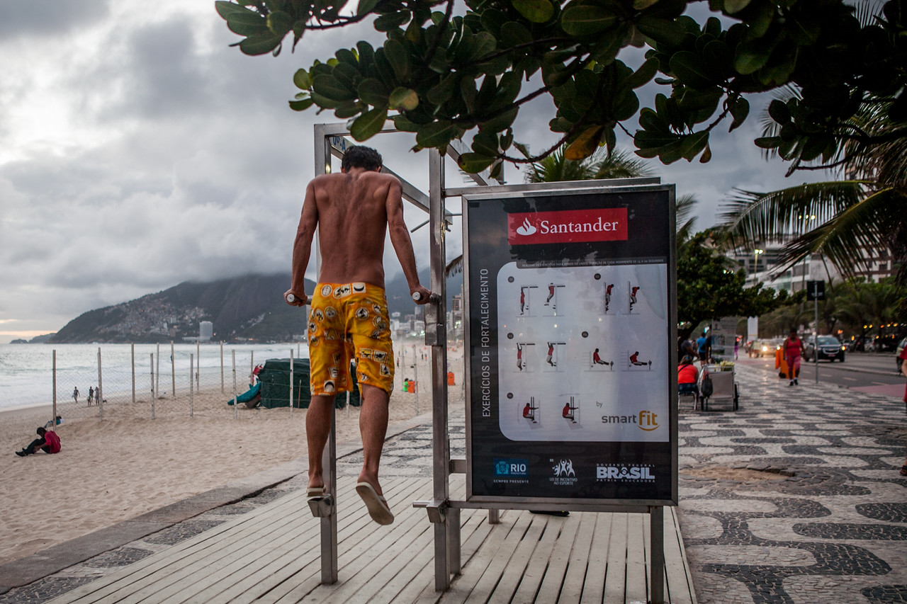 Open air, free gyms on the streets of Rio de Janeiro, Brazil