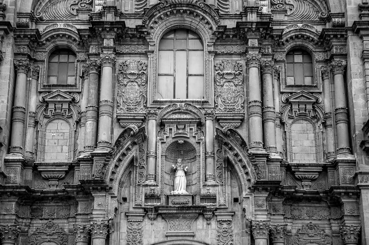 Church built over the former Incan palace in Plaza de Armas, Cusco, Peru
