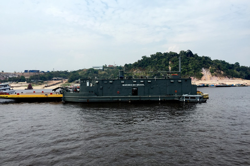 Ships of the Brazilian navy near the port of Manaus along the Amazon river