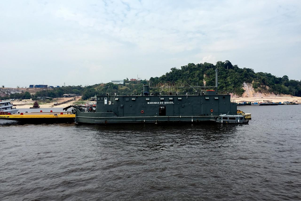 Ships of the Brazilian navy near the port of Manaus along the Amazon river